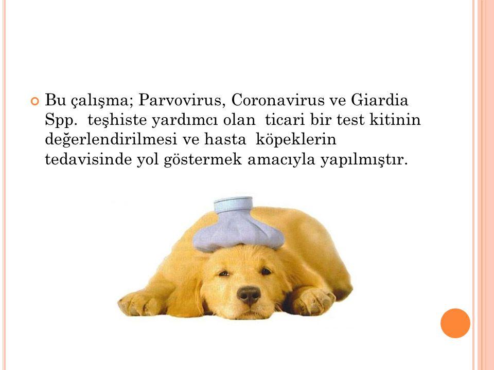 Bu çalışma; Parvovirus, Coronavirus ve Giardia Spp. teşhiste yardımcı olan ticari bir test kitinin değerlendirilmesi ve hasta köpeklerin tedavisinde y