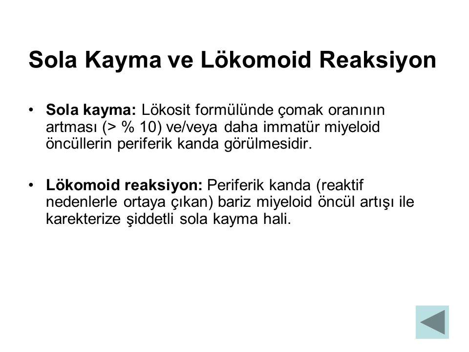 Sola Kayma ve Lökomoid Reaksiyon Sola kayma: Lökosit formülünde çomak oranının artması (> % 10) ve/veya daha immatür miyeloid öncüllerin periferik kan