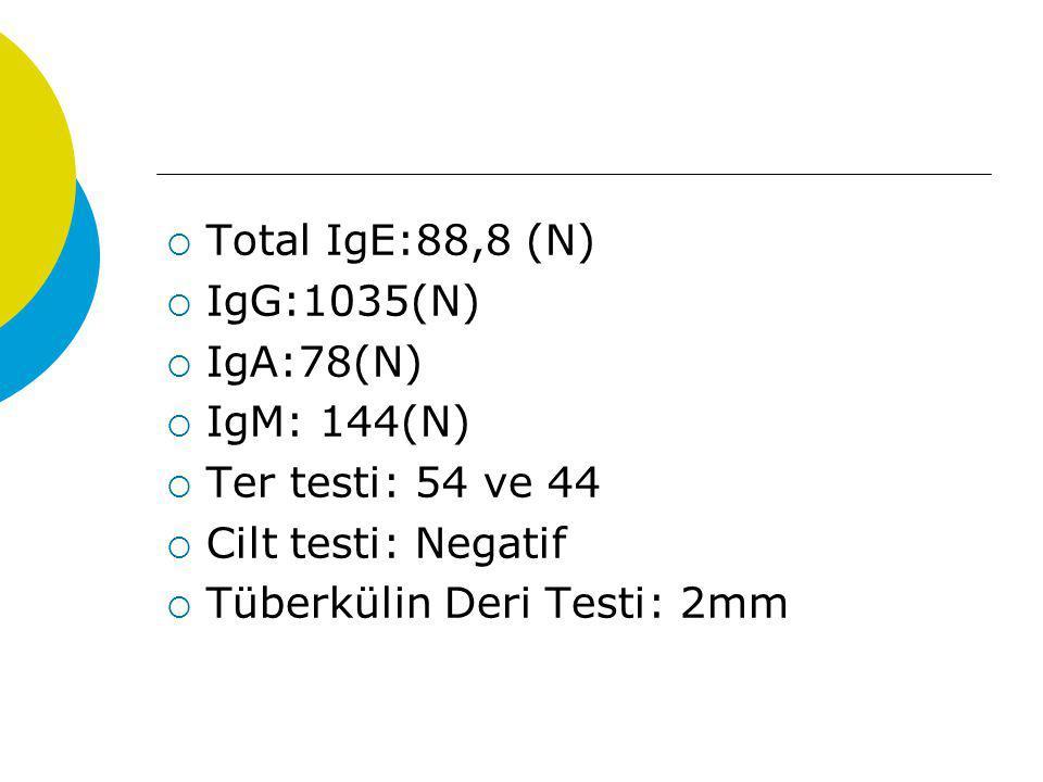  Total IgE:88,8 (N)  IgG:1035(N)  IgA:78(N)  IgM: 144(N)  Ter testi: 54 ve 44  Cilt testi: Negatif  Tüberkülin Deri Testi: 2mm