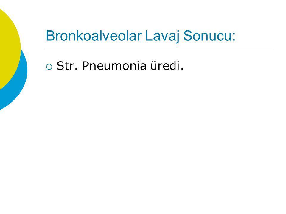Bronkoalveolar Lavaj Sonucu:  Str. Pneumonia üredi.