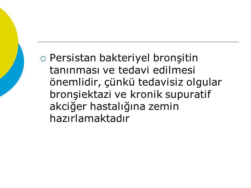  Persistan bakteriyel bronşitin tanınması ve tedavi edilmesi önemlidir, çünkü tedavisiz olgular bronşiektazi ve kronik supuratif akciğer hastalığına