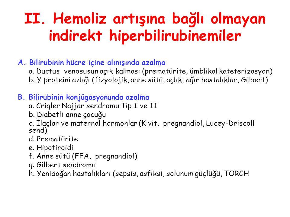 II. Hemoliz artışına bağlı olmayan indirekt hiperbilirubinemiler A. Bilirubinin hücre içine alınışında azalma a. Ductus venosusun açık kalması (premat
