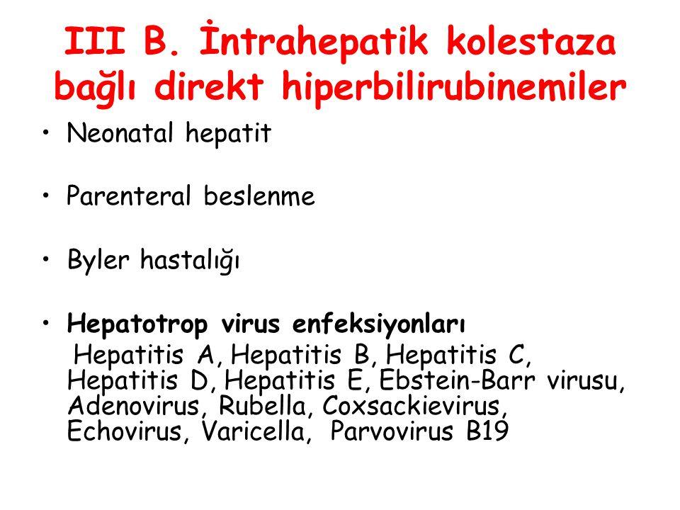 III B. İntrahepatik kolestaza bağlı direkt hiperbilirubinemiler Neonatal hepatit Parenteral beslenme Byler hastalığı Hepatotrop virus enfeksiyonları H