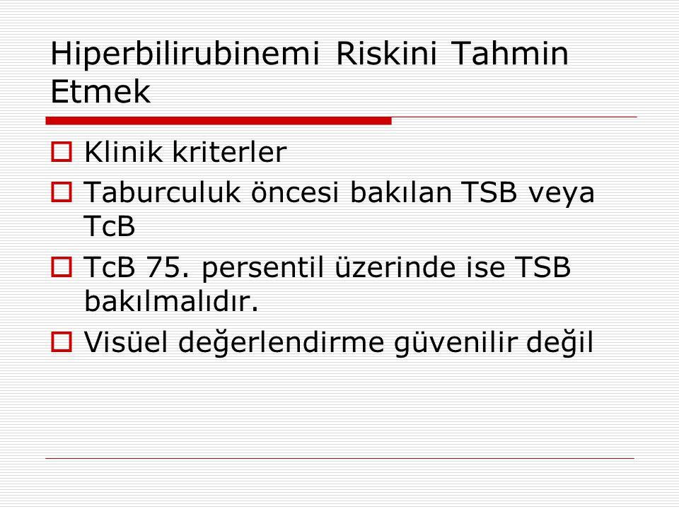 Hiperbilirubinemi Riskini Tahmin Etmek  Klinik kriterler  Taburculuk öncesi bakılan TSB veya TcB  TcB 75. persentil üzerinde ise TSB bakılmalıdır.