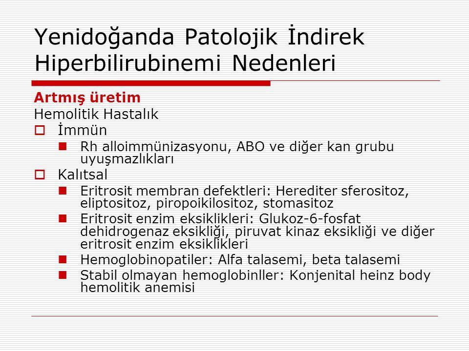 Yenidoğanda Patolojik İndirek Hiperbilirubinemi Nedenleri Artmış üretim Hemolitik Hastalık  İmmün Rh alloimmünizasyonu, ABO ve diğer kan grubu uyuşma