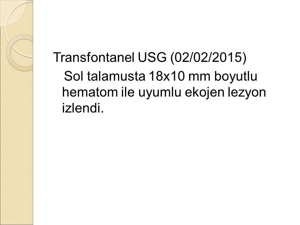 Transfontanel USG (02/02/2015) Sol talamusta 18x10 mm boyutlu hematom ile uyumlu ekojen lezyon izlendi.