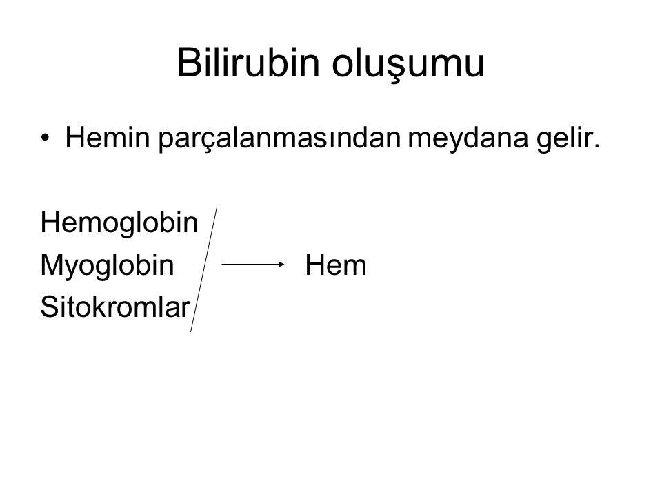 Bilirubin yükünün artması: Hemolitik nedenler Özellikleri: Konjuge olmamış (indirekt bilirubin) artar, Retikülositoz >%6 Hemoglobin < 13 g/dL Coombs test pozitif: Rh uygunsuzluğu, ABO uygunsuzluğu, minör antijenler Coombs test negatif: eritrosit membran defektleri (sferositoz, eliptositoz), –Eritrosit enzim defektleri (G6PD eksikliği, pirüvat kinaz eksikliği), –İlaçlar (streptomisin, K vitamini) –sepsis