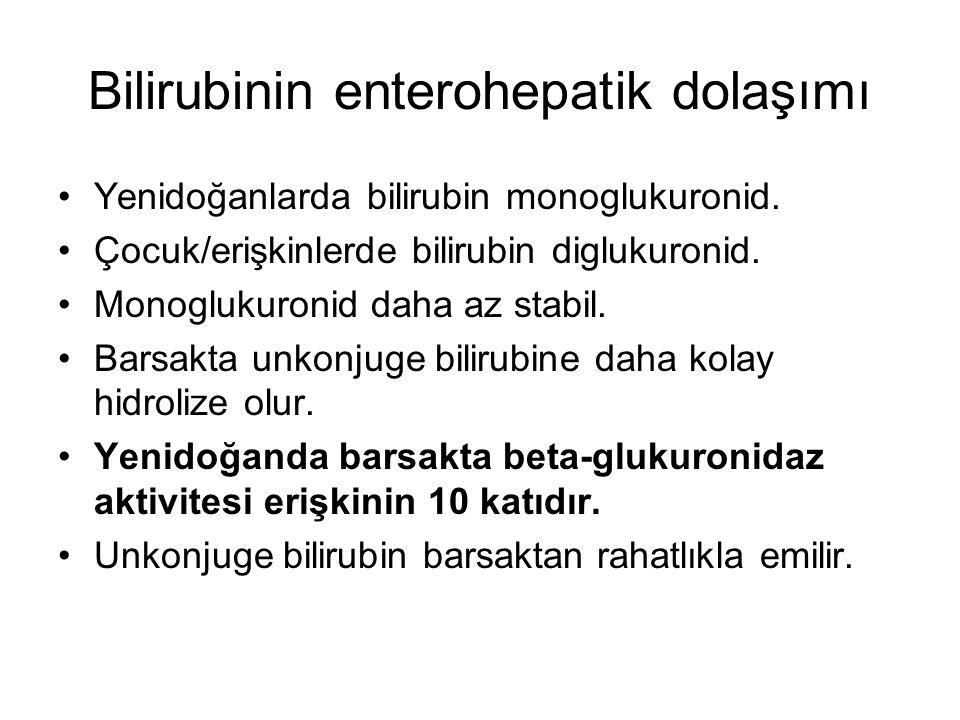 Bilirubinin enterohepatik dolaşımı Yenidoğanlarda bilirubin monoglukuronid. Çocuk/erişkinlerde bilirubin diglukuronid. Monoglukuronid daha az stabil.