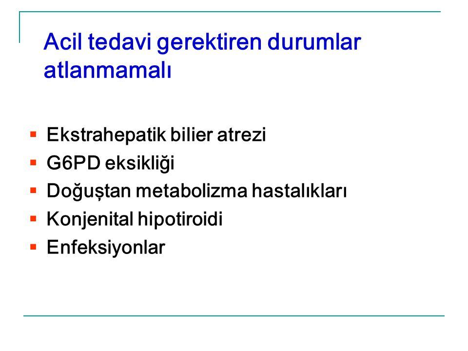 Acil tedavi gerektiren durumlar atlanmamalı  Ekstrahepatik bilier atrezi  G6PD eksikliği  Doğuştan metabolizma hastalıkları  Konjenital hipotiroid
