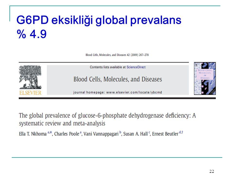 G6PD eksikliği global prevalans % 4.9 22