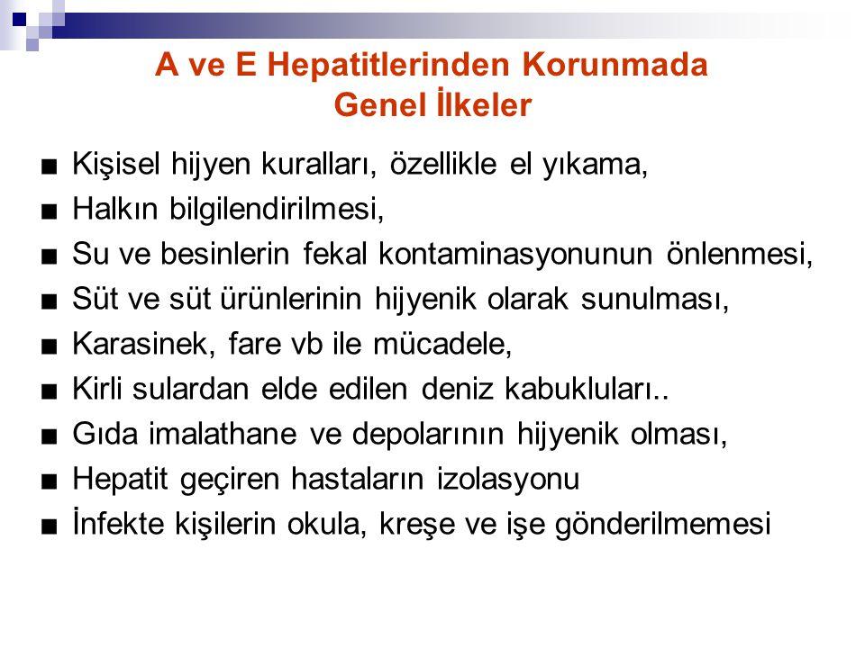 A ve E Hepatitlerinden Korunmada Genel İlkeler ■ Kişisel hijyen kuralları, özellikle el yıkama, ■ Halkın bilgilendirilmesi, ■ Su ve besinlerin fekal k