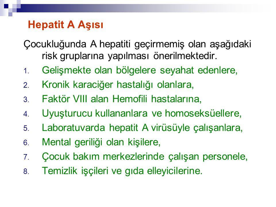 Hepatit A Aşısı Çocukluğunda A hepatiti geçirmemiş olan aşağıdaki risk gruplarına yapılması önerilmektedir. 1. Gelişmekte olan bölgelere seyahat edenl