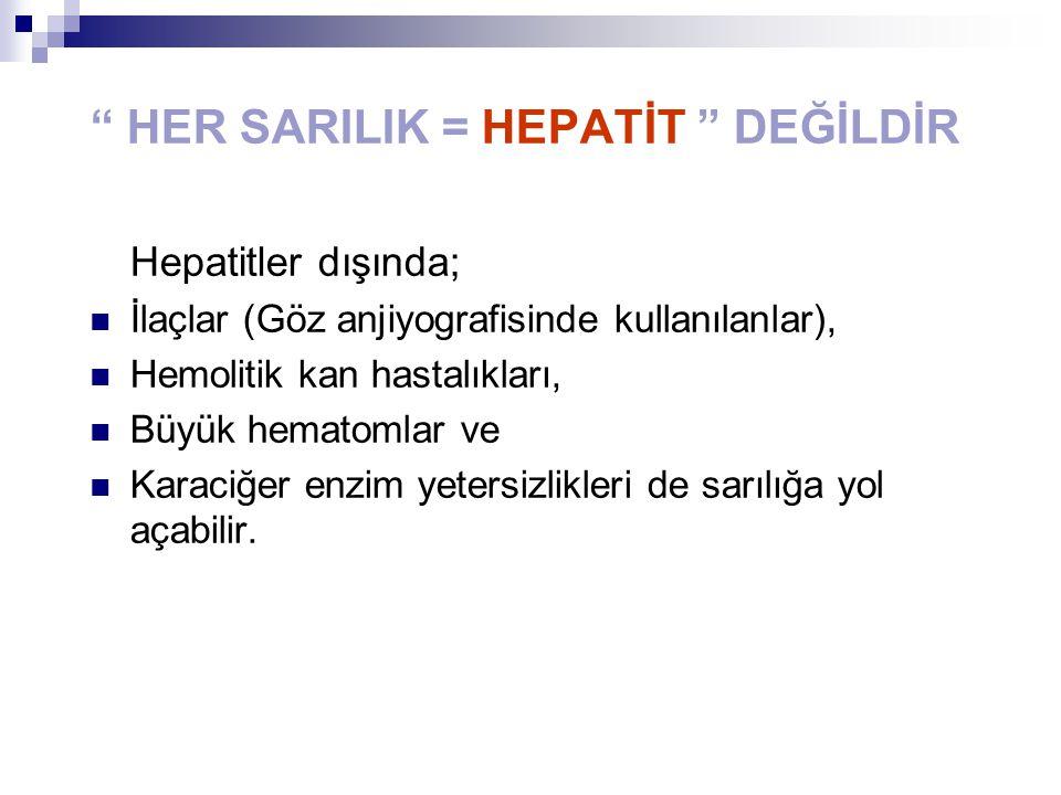 """"""" HER SARILIK = HEPATİT """" DEĞİLDİR Hepatitler dışında; İlaçlar (Göz anjiyografisinde kullanılanlar), Hemolitik kan hastalıkları, Büyük hematomlar ve K"""