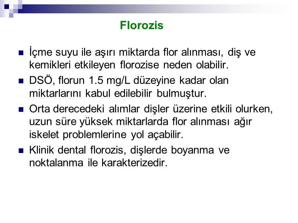 Florozis İçme suyu ile aşırı miktarda flor alınması, diş ve kemikleri etkileyen florozise neden olabilir. DSÖ, florun 1.5 mg/L düzeyine kadar olan mik
