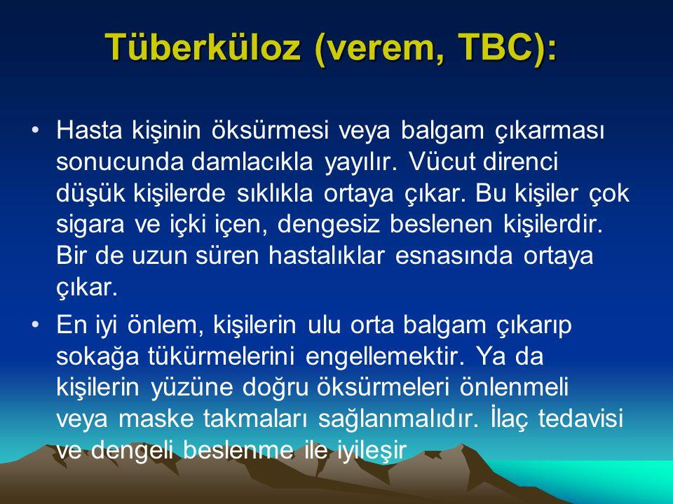 Tüberküloz (verem, TBC): Tüberküloz (verem, TBC): Hasta kişinin öksürmesi veya balgam çıkarması sonucunda damlacıkla yayılır. Vücut direnci düşük kişi