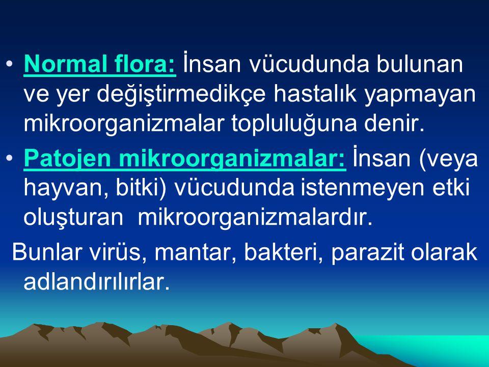 Normal flora: İnsan vücudunda bulunan ve yer değiştirmedikçe hastalık yapmayan mikroorganizmalar topluluğuna denir. Patojen mikroorganizmalar: İnsan (
