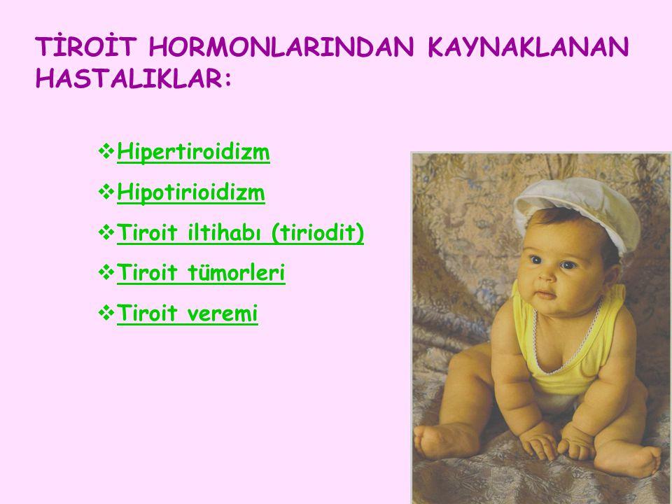 TİROİT HORMONLARINDAN KAYNAKLANAN HASTALIKLAR:  Hipertiroidizm  Hipotirioidizm  Tiroit iltihabı (tiriodit)  Tiroit tümorleri  Tiroit veremi