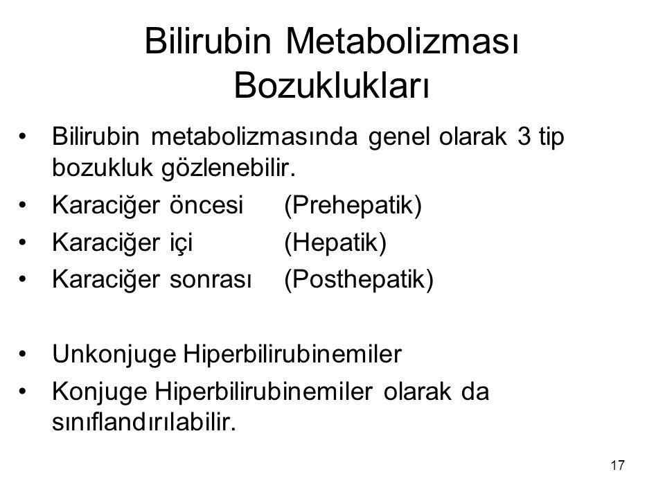 17 Bilirubin Metabolizması Bozuklukları Bilirubin metabolizmasında genel olarak 3 tip bozukluk gözlenebilir. Karaciğer öncesi (Prehepatik) Karaciğer i