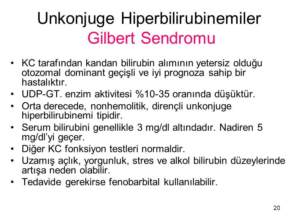 20 Unkonjuge Hiperbilirubinemiler Gilbert Sendromu KC tarafından kandan bilirubin alımının yetersiz olduğu otozomal dominant geçişli ve iyi prognoza sahip bir hastalıktır.