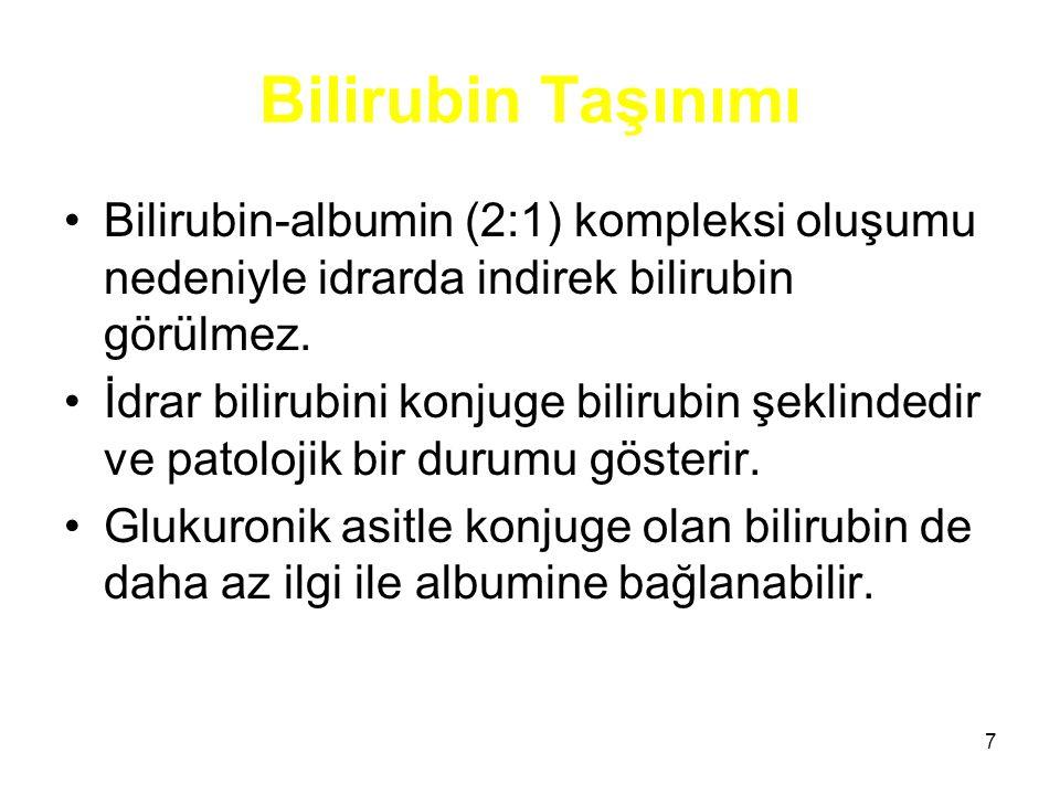 7 Bilirubin Taşınımı Bilirubin-albumin (2:1) kompleksi oluşumu nedeniyle idrarda indirek bilirubin görülmez. İdrar bilirubini konjuge bilirubin şeklin