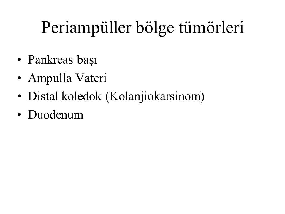 Periampüller bölge tümörleri Pankreas başı Ampulla Vateri Distal koledok (Kolanjiokarsinom) Duodenum