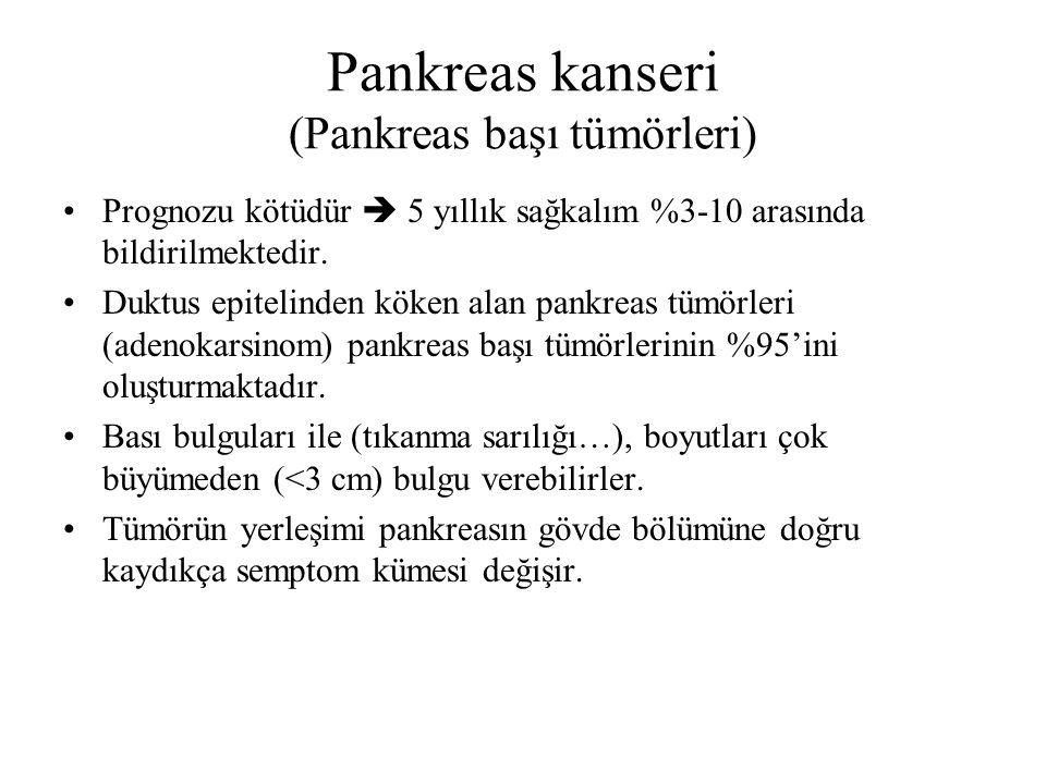 Pankreas başı kanserinde tanı Ağrı olguların yarısından fazlasına eşlik etmez Epigastrik bölgede ve yemekle artan ağrı vardır Süreklilik göstermesi kötü bir bulgudur (invazyon ?) Kitle basısına bağlı çevrede erozyon veya tıkanma sarılığı ile birlikte kolesistit, kolanjit tabloya eşlik edebilir.