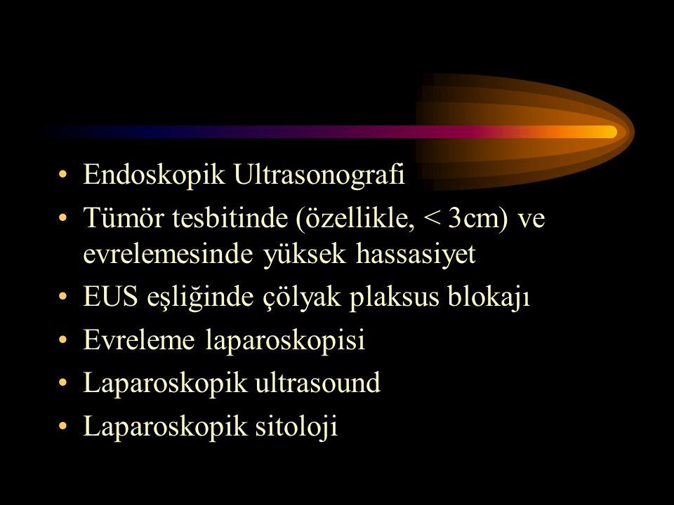 Endoskopik Ultrasonografi Tümör tesbitinde (özellikle, < 3cm) ve evrelemesinde yüksek hassasiyet EUS eşliğinde çölyak plaksus blokajı Evreleme laparos