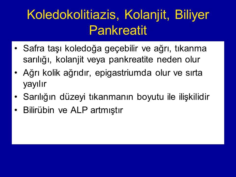 Koledokolitiazis, Kolanjit, Biliyer Pankreatit Safra taşı koledoğa geçebilir ve ağrı, tıkanma sarılığı, kolanjit veya pankreatite neden olur Ağrı koli