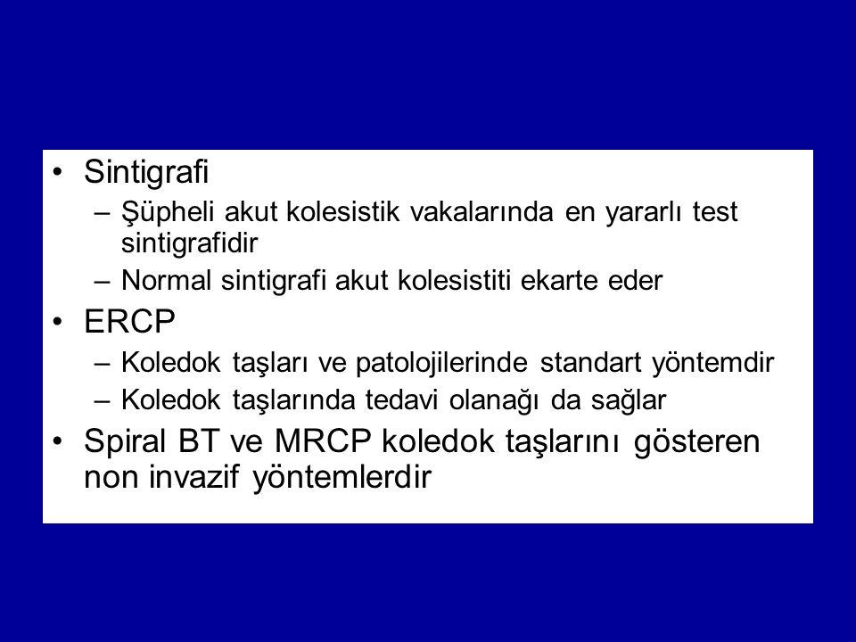 Sintigrafi –Şüpheli akut kolesistik vakalarında en yararlı test sintigrafidir –Normal sintigrafi akut kolesistiti ekarte eder ERCP –Koledok taşları ve