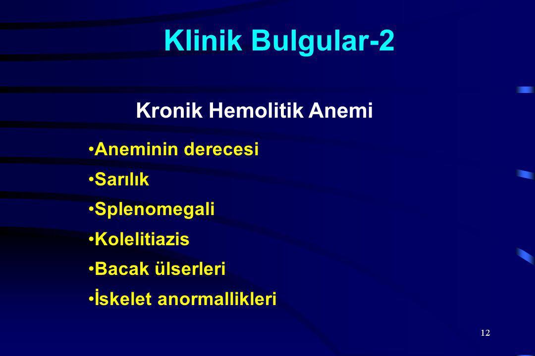 12 Klinik Bulgular-2 Aneminin derecesi Sarılık Splenomegali Kolelitiazis Bacak ülserleri İskelet anormallikleri Kronik Hemolitik Anemi