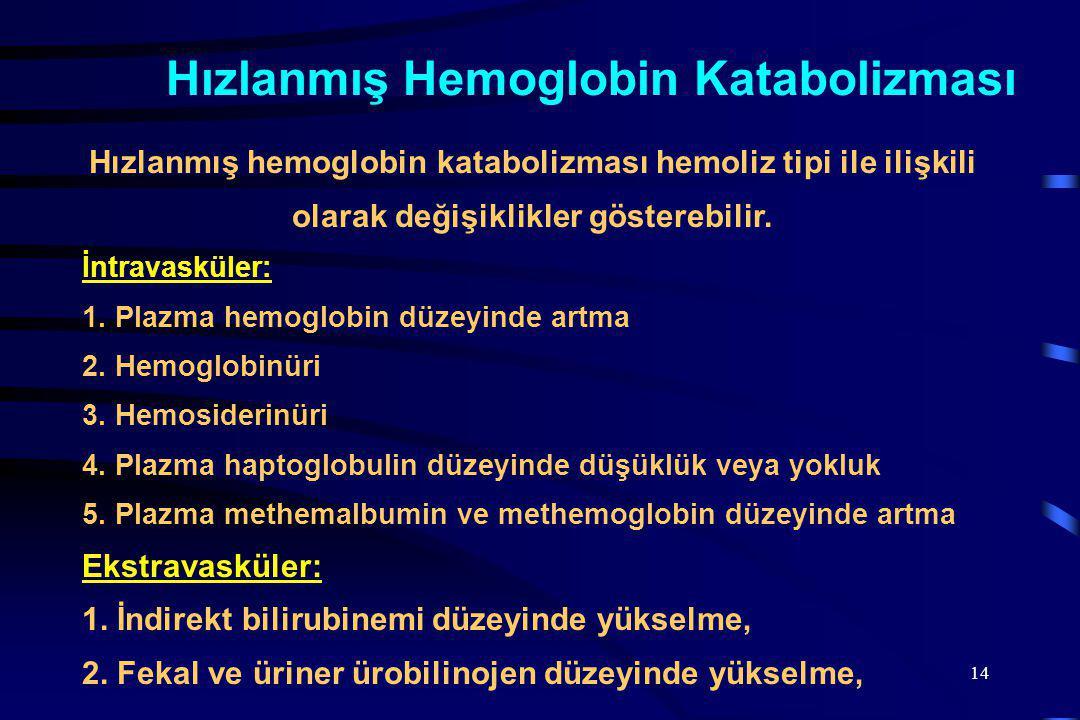 14 Hızlanmış hemoglobin katabolizması hemoliz tipi ile ilişkili olarak değişiklikler gösterebilir.