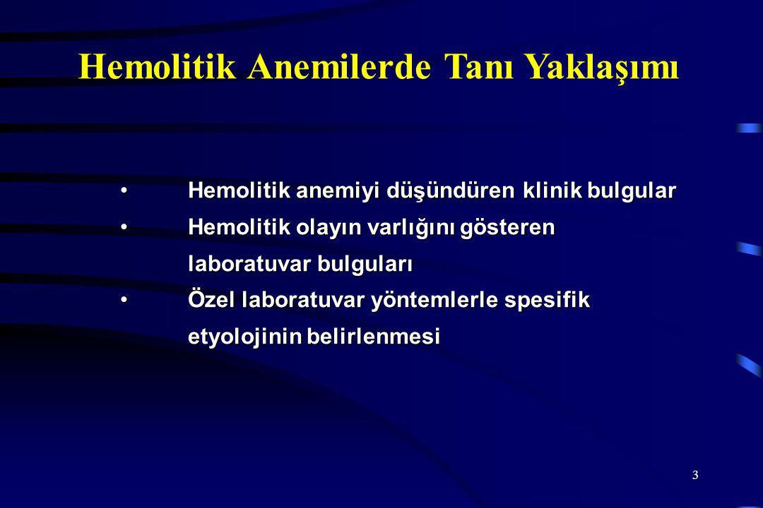 3 Hemolitik Anemilerde Tanı Yaklaşımı Hemolitik anemiyi düşündüren klinik bulgularHemolitik anemiyi düşündüren klinik bulgular Hemolitik olayın varlığını gösteren laboratuvar bulgularıHemolitik olayın varlığını gösteren laboratuvar bulguları Özel laboratuvar yöntemlerle spesifik etyolojinin belirlenmesiÖzel laboratuvar yöntemlerle spesifik etyolojinin belirlenmesi