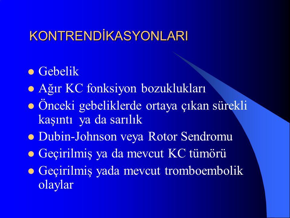 KONTRENDİKASYONLARI Gebelik Ağır KC fonksiyon bozuklukları Önceki gebeliklerde ortaya çıkan sürekli kaşıntı ya da sarılık Dubin-Johnson veya Rotor Sen
