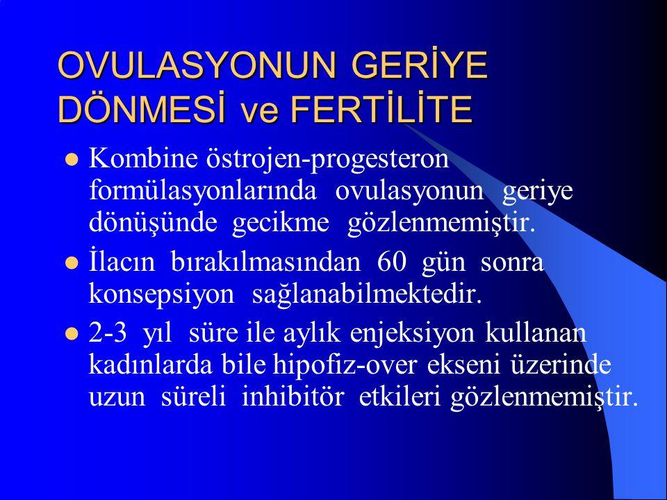 OVULASYONUN GERİYE DÖNMESİ ve FERTİLİTE Kombine östrojen-progesteron formülasyonlarında ovulasyonun geriye dönüşünde gecikme gözlenmemiştir. İlacın bı