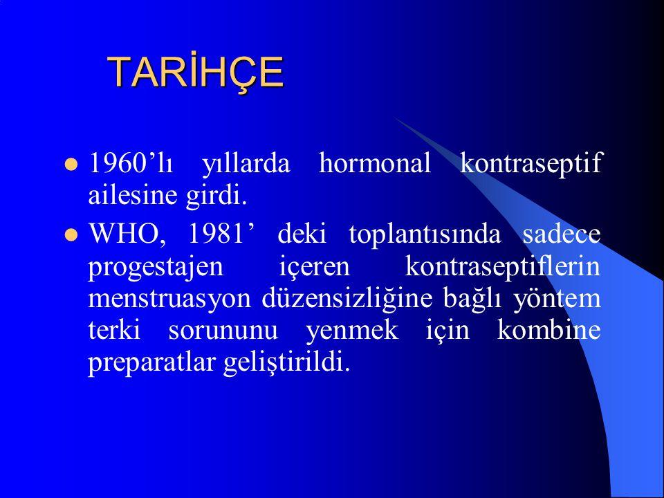 TARİHÇE 1960'lı yıllarda hormonal kontraseptif ailesine girdi. WHO, 1981' deki toplantısında sadece progestajen içeren kontraseptiflerin menstruasyon