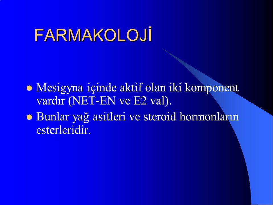 FARMAKOLOJİ Mesigyna içinde aktif olan iki komponent vardır (NET-EN ve E2 val). Bunlar yağ asitleri ve steroid hormonların esterleridir.