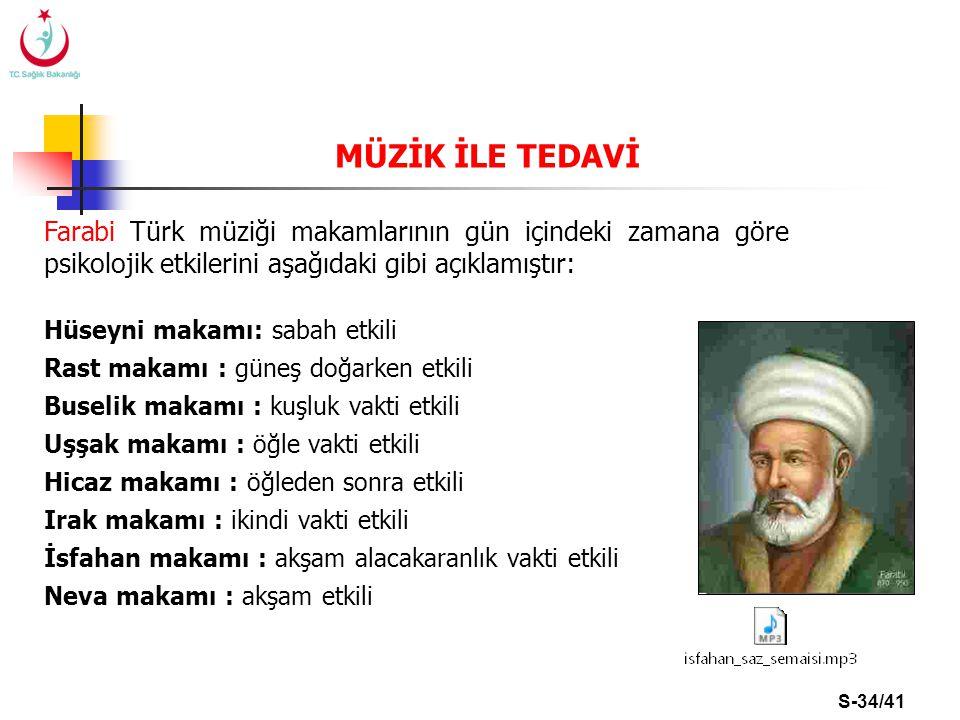 S-34/41 Farabi Türk müziği makamlarının gün içindeki zamana göre psikolojik etkilerini aşağıdaki gibi açıklamıştır: Hüseyni makamı: sabah etkili Rast