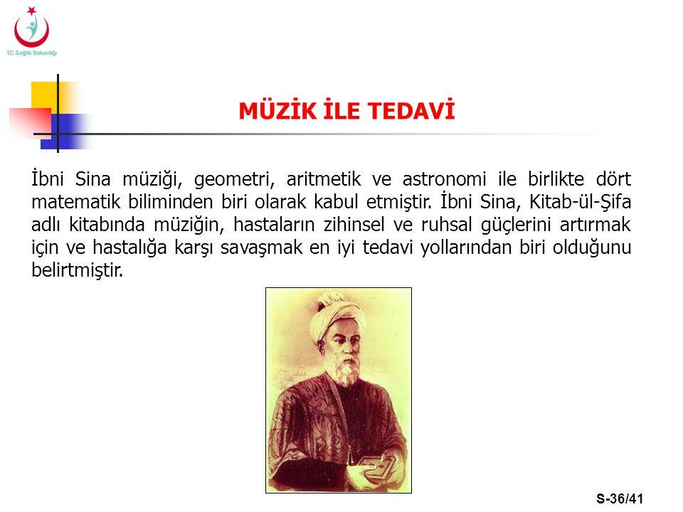 S-36/41 İbni Sina müziği, geometri, aritmetik ve astronomi ile birlikte dört matematik biliminden biri olarak kabul etmiştir. İbni Sina, Kitab-ül-Şifa