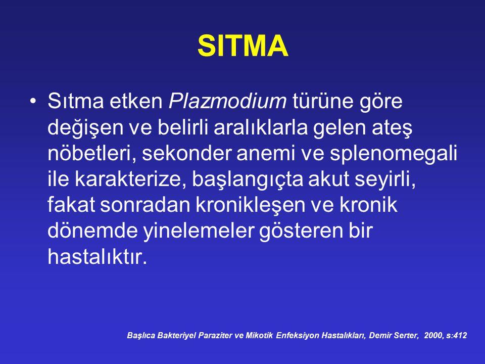 SITMA Sıtma etken Plazmodium türüne göre değişen ve belirli aralıklarla gelen ateş nöbetleri, sekonder anemi ve splenomegali ile karakterize, başlangı