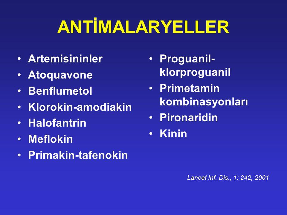 ANTİMALARYELLER Artemisininler Atoquavone Benflumetol Klorokin-amodiakin Halofantrin Meflokin Primakin-tafenokin Proguanil- klorproguanil Primetamin k