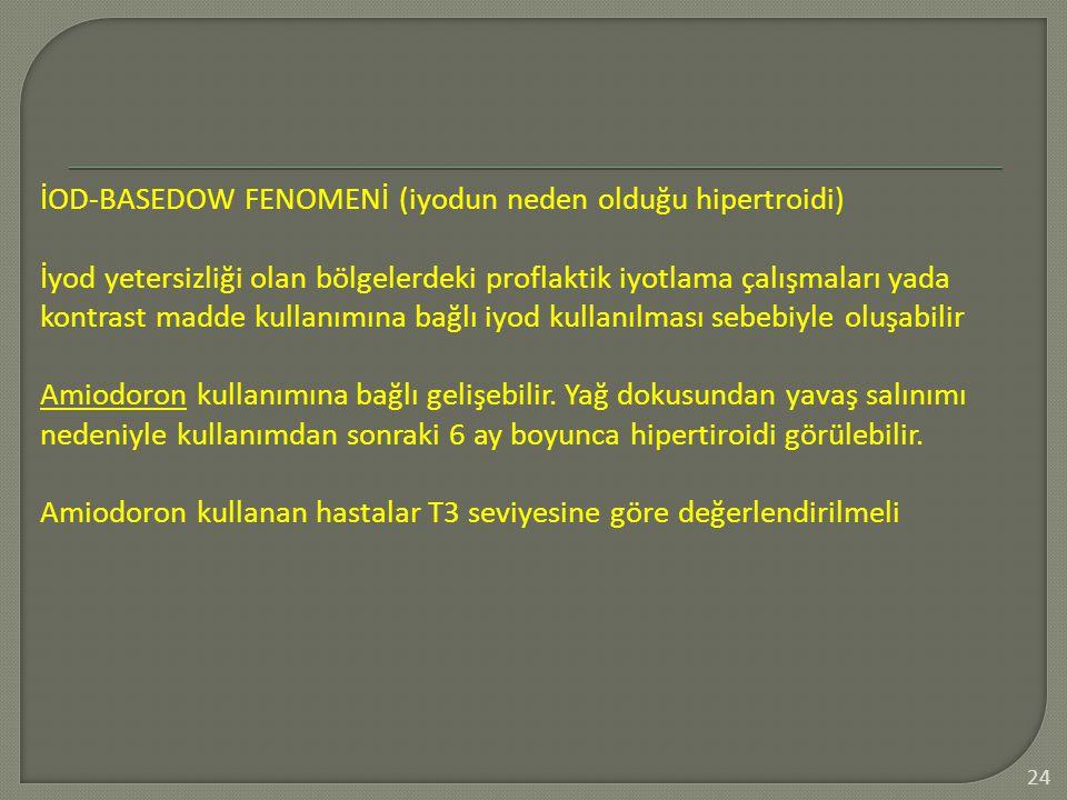 24 İOD-BASEDOW FENOMENİ (iyodun neden olduğu hipertroidi) İyod yetersizliği olan bölgelerdeki proflaktik iyotlama çalışmaları yada kontrast madde kull