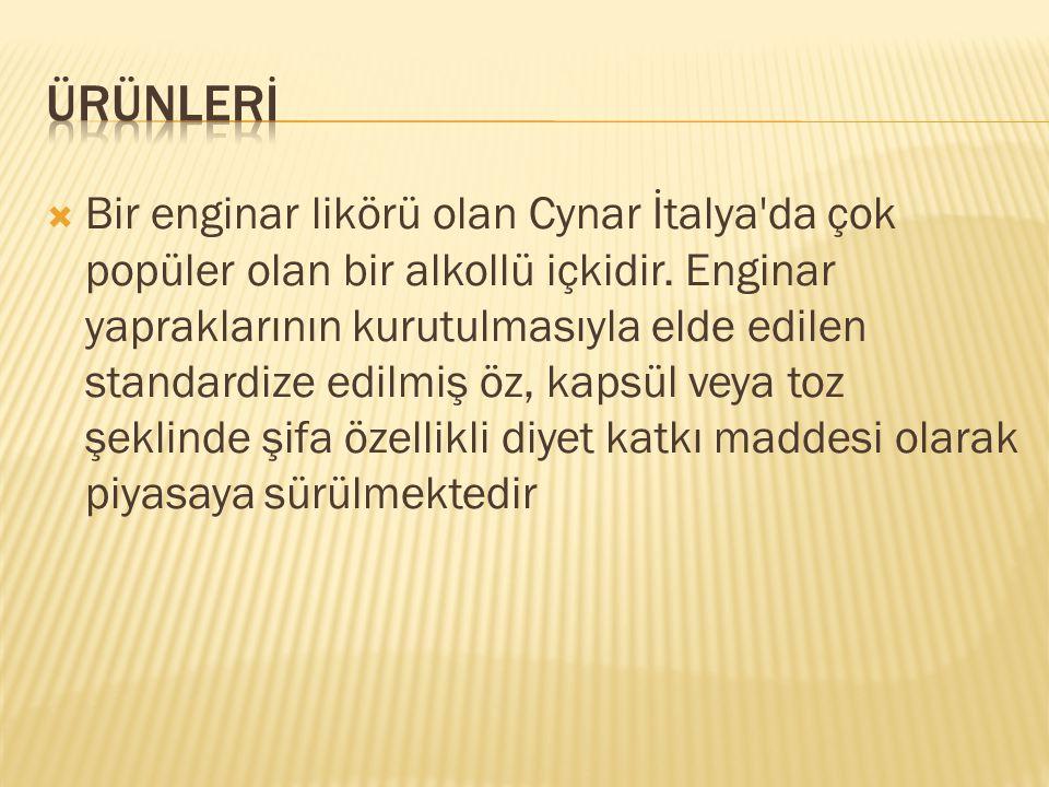  Bir enginar likörü olan Cynar İtalya'da çok popüler olan bir alkollü içkidir. Enginar yapraklarının kurutulmasıyla elde edilen standardize edilmiş ö