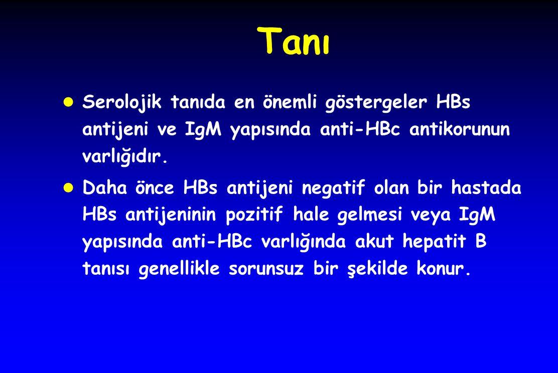 Tanı l Serolojik tanıda en önemli göstergeler HBs antijeni ve IgM yapısında anti-HBc antikorunun varlığıdır. l Daha önce HBs antijeni negatif olan bir