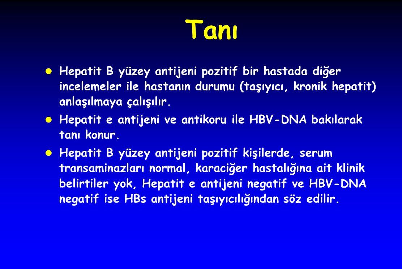 Tanı l Hepatit B yüzey antijeni pozitif bir hastada diğer incelemeler ile hastanın durumu (taşıyıcı, kronik hepatit) anlaşılmaya çalışılır. l Hepatit