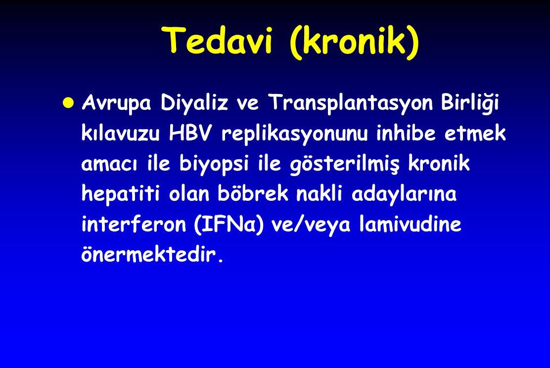 Tedavi (kronik) l Avrupa Diyaliz ve Transplantasyon Birliği kılavuzu HBV replikasyonunu inhibe etmek amacı ile biyopsi ile gösterilmiş kronik hepatiti