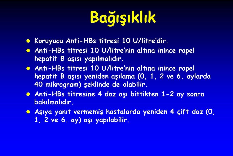 Bağışıklık l Koruyucu Anti-HBs titresi 10 U/litre'dir. l Anti-HBs titresi 10 U/litre'nin altına inince rapel hepatit B aşısı yapılmalıdır. l Anti-HBs