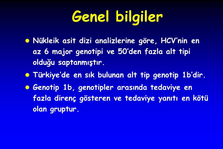 Genel bilgiler l Nükleik asit dizi analizlerine göre, HCV'nin en az 6 major genotipi ve 50'den fazla alt tipi olduğu saptanmıştır. l Türkiye'de en sık