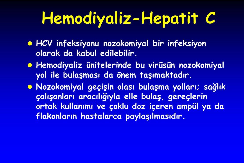 Hemodiyaliz-Hepatit C l HCV infeksiyonu nozokomiyal bir infeksiyon olarak da kabul edilebilir. l Hemodiyaliz ünitelerinde bu virüsün nozokomiyal yol i