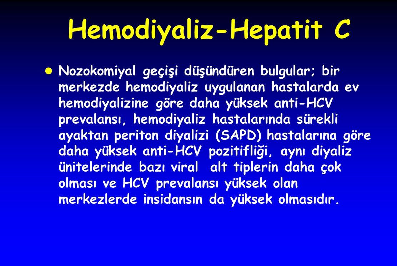 Hemodiyaliz-Hepatit C l Nozokomiyal geçişi düşündüren bulgular; bir merkezde hemodiyaliz uygulanan hastalarda ev hemodiyalizine göre daha yüksek anti-HCV prevalansı, hemodiyaliz hastalarında sürekli ayaktan periton diyalizi (SAPD) hastalarına göre daha yüksek anti-HCV pozitifliği, aynı diyaliz ünitelerinde bazı viral alt tiplerin daha çok olması ve HCV prevalansı yüksek olan merkezlerde insidansın da yüksek olmasıdır.
