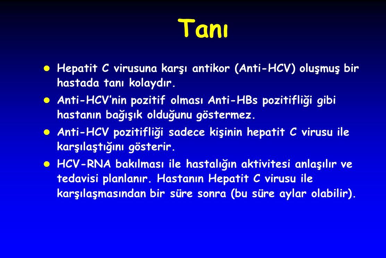 Tanı l Hepatit C virusuna karşı antikor (Anti-HCV) oluşmuş bir hastada tanı kolaydır. l Anti-HCV'nin pozitif olması Anti-HBs pozitifliği gibi hastanın